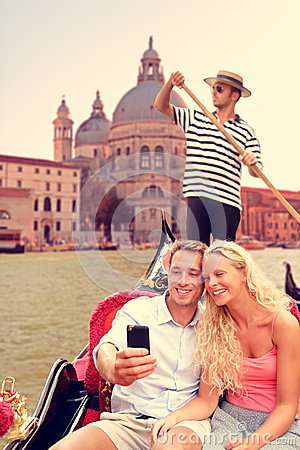 Free Couple In Venice On Gondola Ride On Canal Grande Stock Images - 44651494