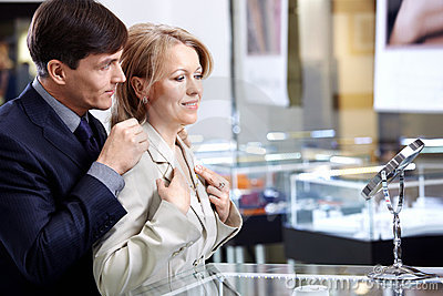 Couple in jeweller shop