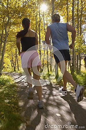 Free Couple Jogging Through Woodland Royalty Free Stock Photos - 30841868