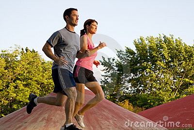 Couple Jogging Together - horizontal