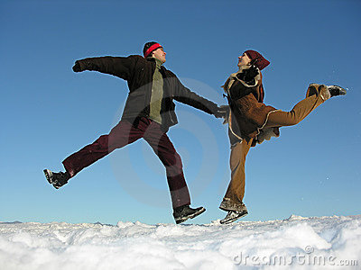 Couple jump. winter