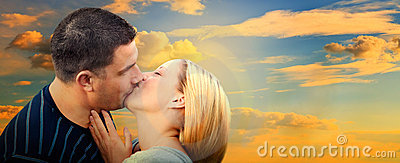 Couple kissing in romantic love scenery