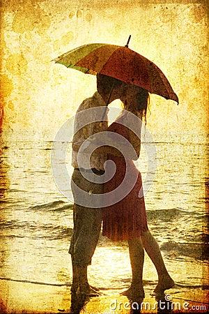 Free Couple Kissing Under Umbrella Stock Photo - 21376450