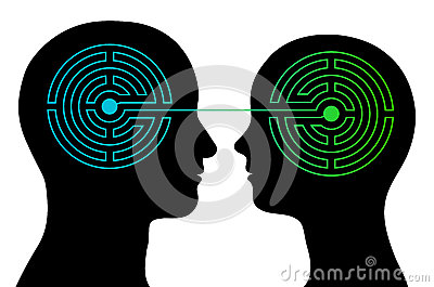 Couple with labyrinth brains communicate