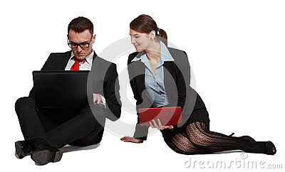 Couple on Laptops