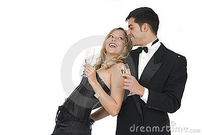 Couple laughing in new year celebration