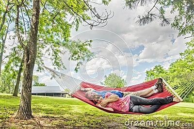 Couple Laying In Hammock Stock Photo Image 55310611