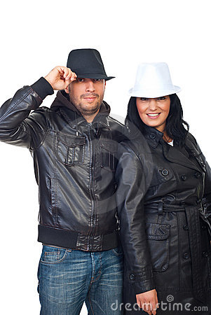 Couple in leather jackets and hats