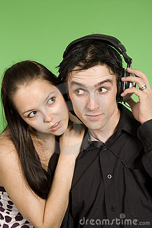 Couple listening to plaisant music