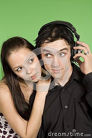 Couple listening to plaisant music