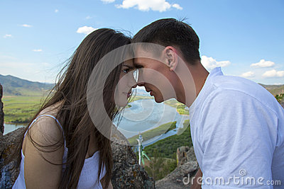 Couple looking into each other s eyes