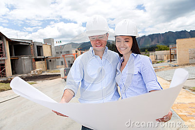 Couple looking at a house project