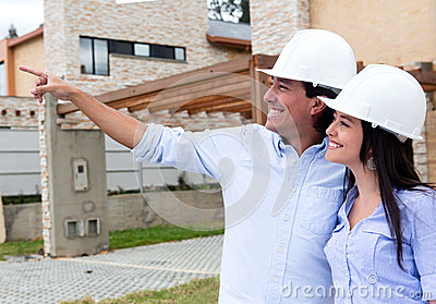 Couple looking at houses