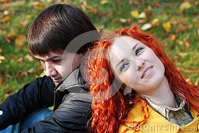 Couple in love in autumn park