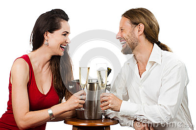 Couple in love doing cheers