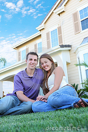 Couple in Love in Front of Home