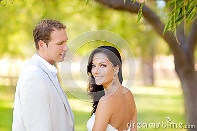 Couple in love happy in green park outdoor
