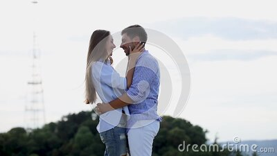 Couple In Love Hugging In Nature With Beautiful View stock footage