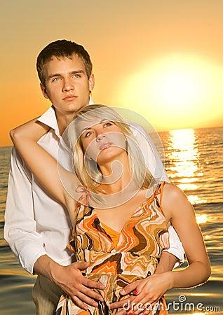 Couple in love near the ocean