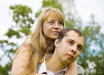 Couple in love outdoors