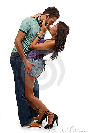 Couple in love over white background