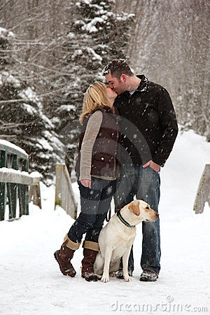 Couple in love in snow