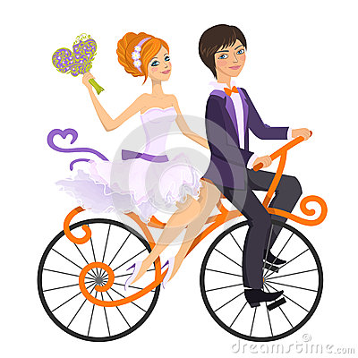 Couple in love on tandem bicycle