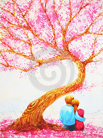 Free Couple Lover Sitting Under Love Tree Valentines Day Watercolor Painting Royalty Free Stock Photo - 90084005