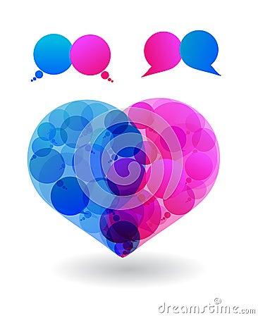 Couple of lovers talk love in heart speech bubbles
