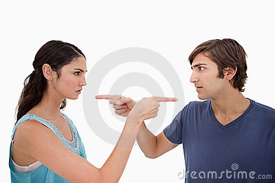 Couple mad at each other