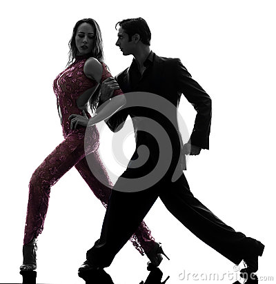 Couple man woman ballroom dancers tangoing  silhou