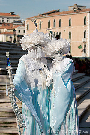 Couple masquerade in venice Editorial Stock Photo