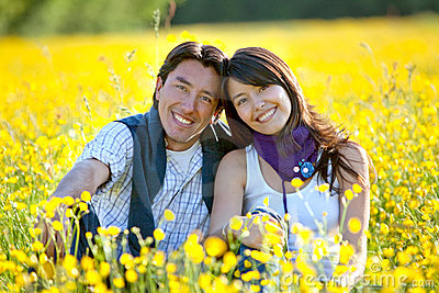 Couple at a meadow
