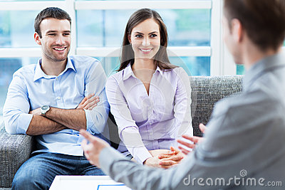 Couple meeting with consultant
