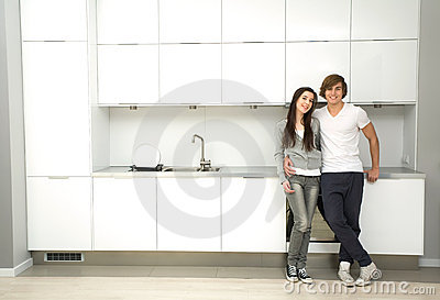 Couple in modern kitchen