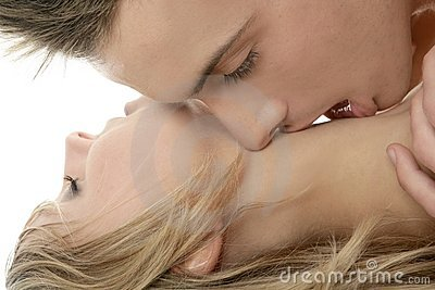 Couple natural kiss closeup portrait