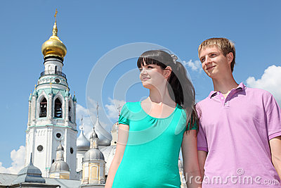 Couple near Holy Resurrection cathedral