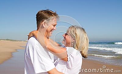 Couple neck hugging
