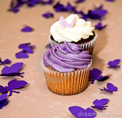 Free Couple Of Blueberry And Chocolate Cupcakes Stock Photos - 14544873