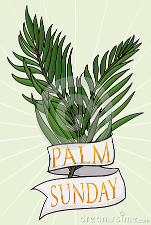 Free Couple Of Branches With Ribbon For Palm Sunday, Vector Illustration Stock Image - 68116951