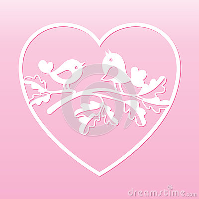 Free Couple Of Doves On An Oak Branch Inside The Heart. Laser Cutting Template. Stock Photo - 93240020