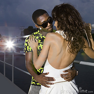 Free Couple Of Lovers In Harbour At Night Royalty Free Stock Image - 17779496