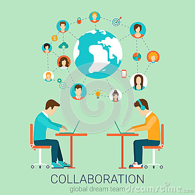 Free Couple Of Men With Laptops In Vector Flat Teamwork Concept Royalty Free Stock Photo - 59049675