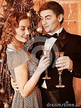 Free Couple On Christmas Party.  Black And White Retro. Stock Photos - 27849893