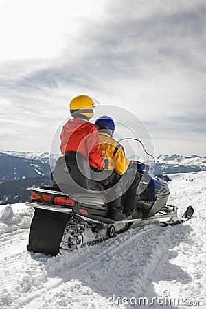 Free Couple On Snowmobile. Stock Photos - 3206313