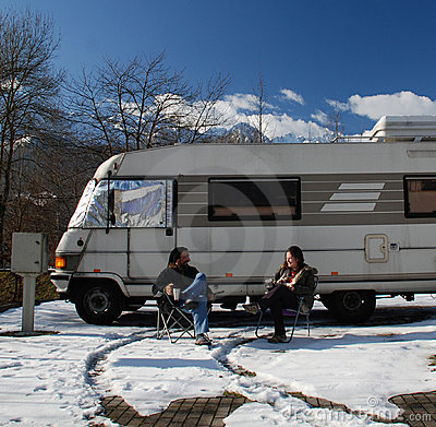 Couple Outside Motorhome
