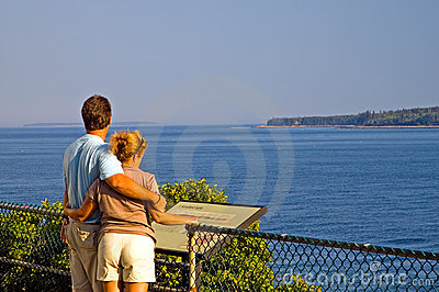 Couple overlooking ocean