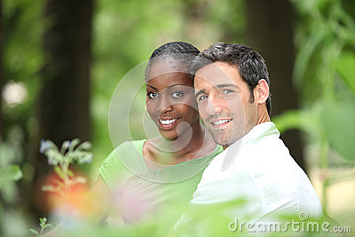 Couple in a park.