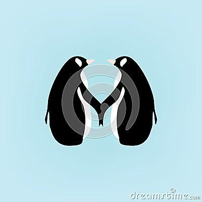 Cartoon penguins holding hands - photo#12