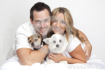 Couple with pet dogs